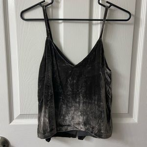 Grey crushed velvet tank
